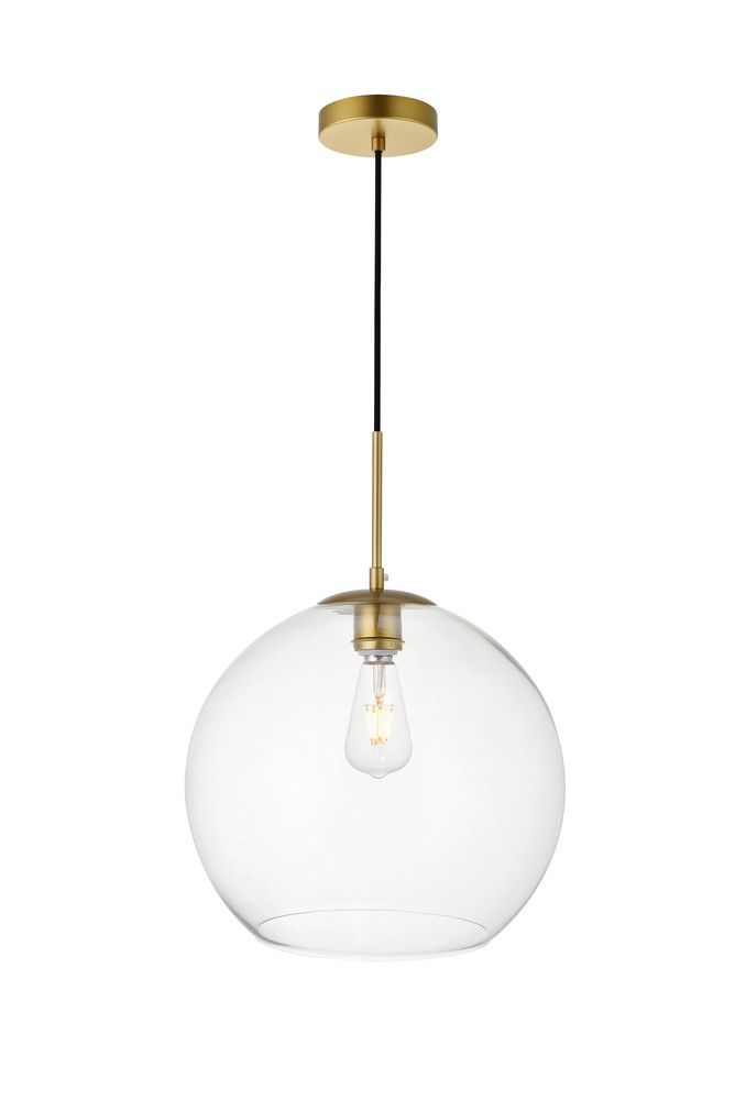 Light Br Pendant With Clear Gl